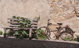 Abandoned Bike on a Cobblestone Street. A decrepit bike next to an ivy-covered bench on a hillside cobblestone street in northern Italy Royalty Free Stock Photos