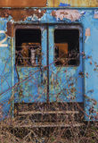 Abandoned blue train wagon Royalty Free Stock Images