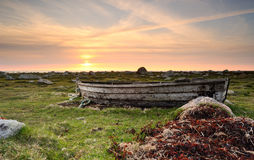 Abandoned boat. Old abandoned boat at a natural area near the beach Royalty Free Stock Photos
