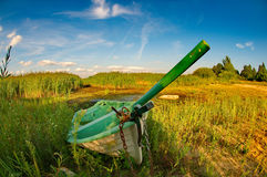 Abandoned boat. In the grass royalty free stock images