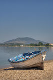 Abandoned boat. Abandoned fisherman boat on the shore of the Adriatic sea stock photography