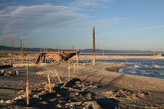 An abandoned boat being built. Sits by the Salton Sea and decays along with surrounding wood Royalty Free Stock Image