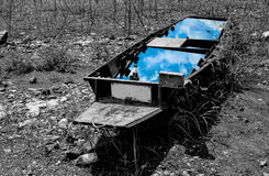 Abandoned boat. And blue sky Stock Image