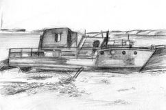 Abandoned boat. Derelict near the river. Pencil drawing stock illustration