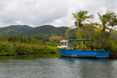 Abandoned boat in Dominica Indian River Royalty Free Stock Photos