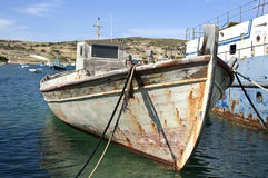 Abandoned boat. Abandoned greek boat in Koufonisia port Royalty Free Stock Photos