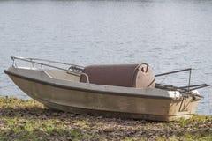 Abandoned boat on lake Royalty Free Stock Photography