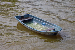 Abandoned boat. Abandoned boat at lake after a water accident (two men were rescued due to their life-jackets Royalty Free Stock Photography