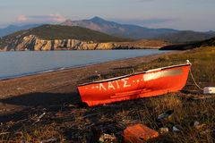Abandoned Boat near Agia Anna,Greece stock photo