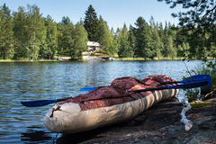 Abandoned boat and paddles on the shore Royalty Free Stock Photo