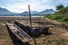 Abandoned boat. On abandoned place with mountain Stock Photos