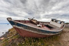 Abandoned Boat in Puerto Natales stock images
