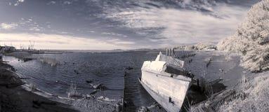 Abandoned boat scene, infrared photo Stock Photo