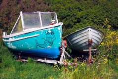 Abandoned Boat. Boat abandoned surrounded by shrubs at Kimmeridge UK Stock Images