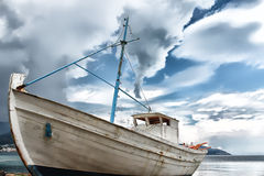 Abandoned boat in Thassos, Greece Royalty Free Stock Image