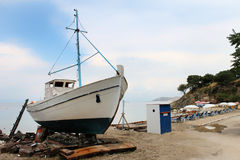 Abandoned boat in Thassos, Greece Stock Photos