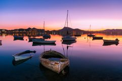 Boats in the Mar Menor. Abandoned boats and others of recreation and fishing in La Manga del Mar Menor. A very touristic place Royalty Free Stock Image