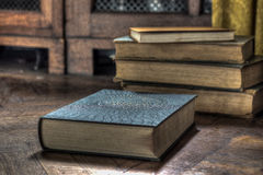 The Abandoned Books. Old lost books on floor Royalty Free Stock Images
