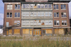 Abandoned brick factory building Stock Images