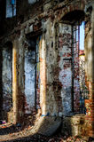 Abandoned brick factory HDR tones. Crumbling brick interior of old abandoned industrial sugar factory in Czech Republic. HDR High Dynamic Range toned Stock Photo