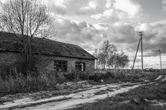Abandoned brick house, Russian outback. Royalty Free Stock Photo
