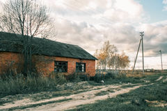 Abandoned brick house, Russian outback. Stock Images