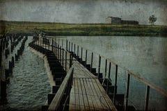 Abandoned bridge curve Stock Image