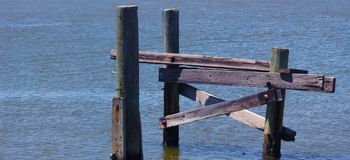Abandoned Broken Pier and Boat Ramp stock images