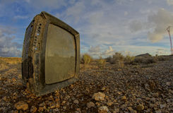 Abandoned Broken Television Stock Photo