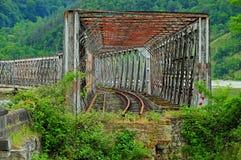 Abandoned broken train bridge in Carpathians mountains Stock Image