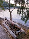 Abandoned and Broken up Wooden Boat Stock Photography