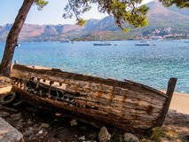 Abandoned broken wooden boat Royalty Free Stock Photography