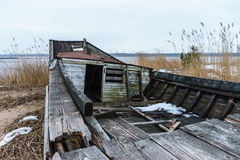 Abandoned and broken wooden ship Royalty Free Stock Images