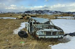 Abandoned Brokendown Old Cars in the tundra Stock Photography