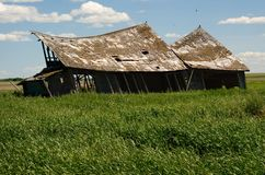 Abandoned Building. On An Alberta Prairie Field stock photo