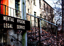 Abandoned Building. An entrance of an abandoned building earlier existing as a Psychiatric Center Stock Images