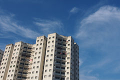 Abandoned building with blue sky Stock Image