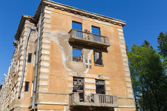 Abandoned building broken tenement apartment house Stock Photo