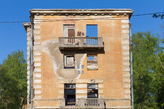 Abandoned building broken tenement apartment house Royalty Free Stock Photos