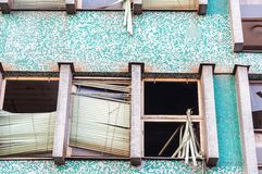 Abandoned building with broken windows Royalty Free Stock Photo