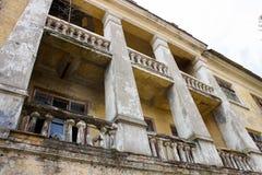 abandoned building with broken windows Stock Photos