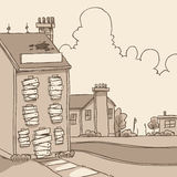 Abandoned Building. A cartoon of a boarded up, abandoned building royalty free illustration