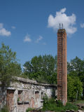 Abandoned building and chimney scene 2. Photos taken outside the city Royalty Free Stock Photo