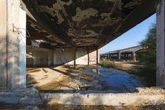 Abandoned building. Damaged industrial facilities. View of an abandoned building. Empty damaged industrial facilities in Greece royalty free stock images