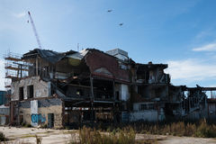 Abandoned building destroyed by an earthquake Royalty Free Stock Photography
