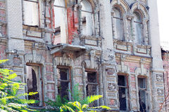 Abandoned building facade. In the city center of Dnipropetrovsk city Stock Images