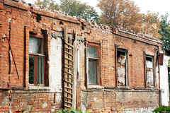 Abandoned building facade. In the city center of Dnipropetrovsk city Stock Photo