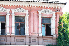Abandoned building facade. In the city center of Dnipropetrovsk city, Ukraine. Ukrainian Baroque Stock Photo