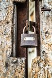 Padlock on a gate stock image