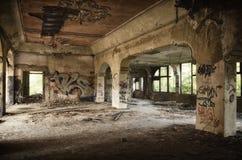 Abandoned Building Full of Graffiti Royalty Free Stock Photos
